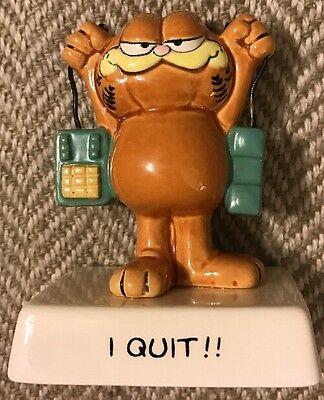 "Rare Vintage Garfield Cat ""I QUIT!!"" Quote Figurine Ceramic Figure - Enesco"