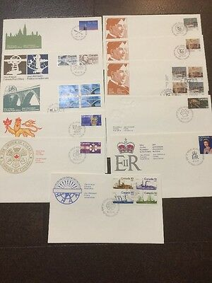 11x FDC's UNADDRESSED - Var Canada Post Cachets. Singles, Blocks, Combos.