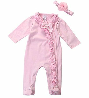 Divine Baby Girls Shabby Pink Ribbon Rose's Romper Outfit Set