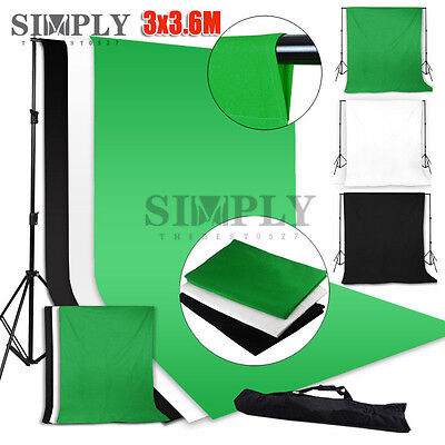 Photo Photography Studio Lighting Muslin Backdrop Background Support Stand Kit
