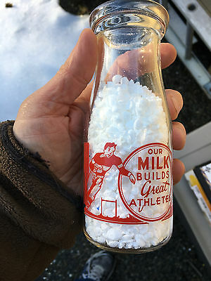 Rare PRINCE ALBERT SASKATCHEWAN ACL Dairy Milk Bottle FOOTBALL PLAYER 1/2 PINT
