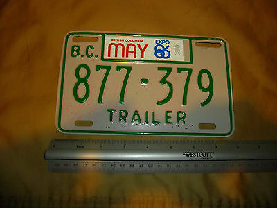 expo 86 trailer licence plate may bc canada british columbia as seen