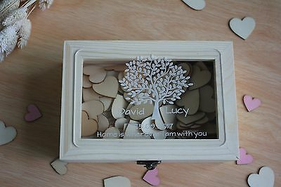 Personalized Wooden Wedding Guest Book Custom Keepsake Box With 150pcs Hearts