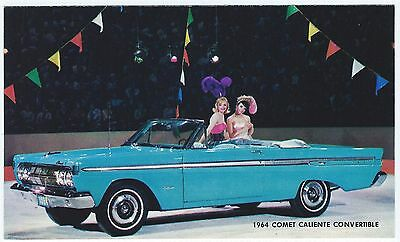 1964 Mercury COMET CALIENTE CONVERTIBLE Original Dealer Promo Postcard Unused EX