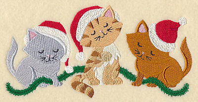 Embroidered Christmas kitten trio quilt block,cat fabric,cushion panel,  kitty
