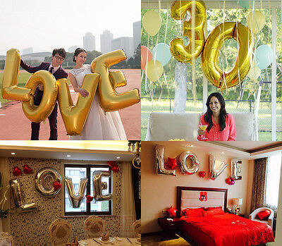 "Gold Silver 40"" Foil Letter & Number Balloon Helium Large Wedding Birthday Party"