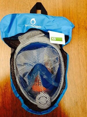 NEW EASYBREATH  SURFACE SNORKELING MASK FULL FACE SNORKEL ADULT XS Unisex Blue