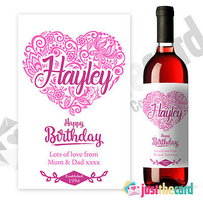 Happy Birthday Pink Personalised Wine Label Gift