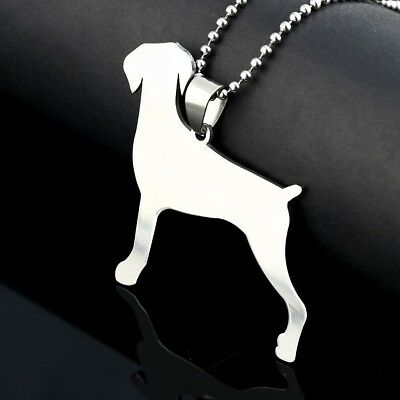 Stainless Steel Natural Ear Docked Tail Doberman Dobie Pinscher Dog Tag Pendant