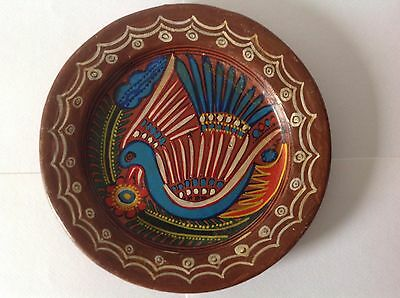 Vintage Mexican Folk Art Hand Painted Bird Clay Pottery Plate 7.5 In