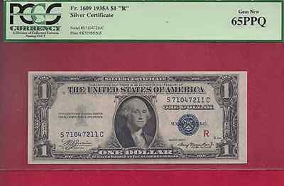 "1935A $1 EXPERIMENTAL ""R"" SILVER CERTIFICATE NOTE. Fr. 1609 PCGS 65PPQ"