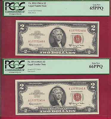 LOT OF (2) 1963A (LUCKY 7777) $2 LEGAL TENDER NOTE Fr. 1514 PCGS 65PPQ/66PPQ