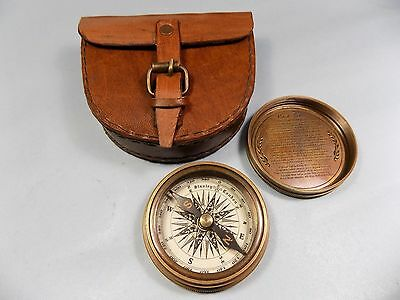 """2.3"""" Antique Vintage Style Brass Pocket Compass W Leather Case Hiking"""