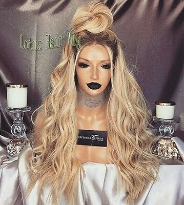 Dark  brown root. Blonde wavy lace front wig. Human hair blend. Beauty