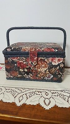 LOVELY TAPESTRY SEWING BOX 25cm x 18cm