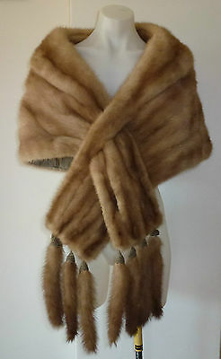 Vintage Genuine Luxurious Honey Brown Mink Stole/Bolero with Tails, 208 cm Long