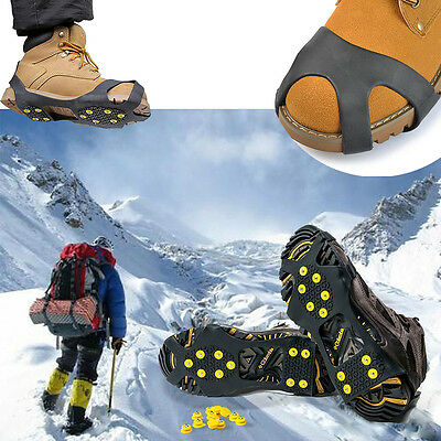 Anti Slip Snow Ice Climbing Spikes Grips Crampon Cleats 10-Stud Shoes Cover New