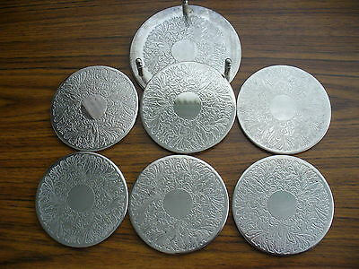 Nice Set Of ( 6 ) Vintage Silver Coasters Very Good Condition