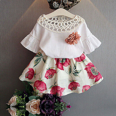 Toddler Kids Baby Girls Short Sleeve Shirt + Floral Skirt Dress Outfits Clothes