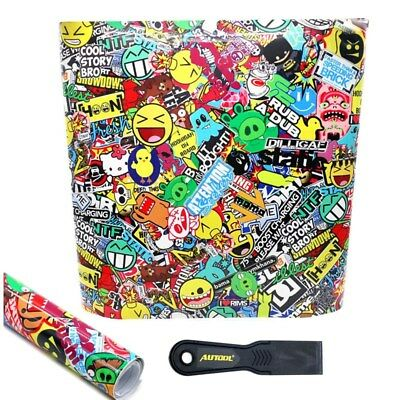 "60""x 20"" JDM Cartoon Graffiti Car Sticker Bomb Vinyl Wrap Decal Sticker Decor AU"