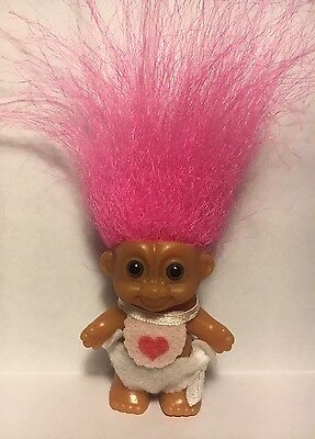 Adorable Tiny Vintage Russ Troll Doll Small Baby Bib Love Heart Pink Hair Small
