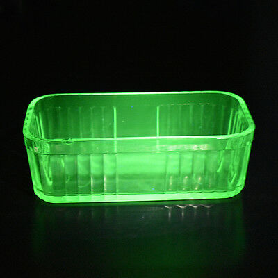 Large Uranium Glass Trough Vase for small flowers, will glow under UV light