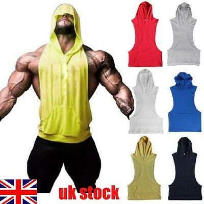 Mens Sleeveless Hoodie Racerback Hooded Shirt Muscle Gym Bodybuilding Vest Tank