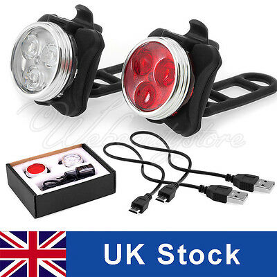 Rechargeable USB Cycling Bicycle Bike 3 LED 4 Mode Head Front Rear Tail light UK