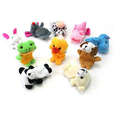 12x Animals Finger Puppets Plush Toys Kids Baby Play Toys Hand Cartoon Toy Doll