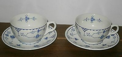 Vintage Furnivals Blue And White Denmark Tea Cups And Saucers X 2 Exc Con Masons