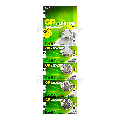 5 x GP Alkaline PX625A batteries 1.5V LR9 V625U 625G EPX625 PX13 E625G EXP:2019
