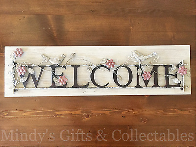 85cm Long Rustic Metal Welcome Sign on Wooden Base Wall Art Wall Hanging