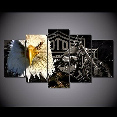 Harley Davidson Motor Cycles Eagle 5 Painting Canvas Home Decor Wall Art