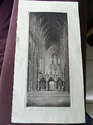 19th Century Engraving Westminster Abbey Cathedral Signed K Vernon