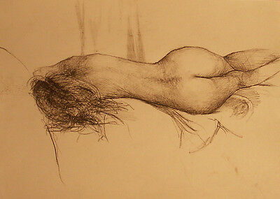 Female Nude Study Original Drawing Realism on A4 paper with Sepia Pencil