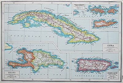 WEST INDIES CUBA HAITI PORTO RICO VIRGIN ISLANDS MAP c.1920