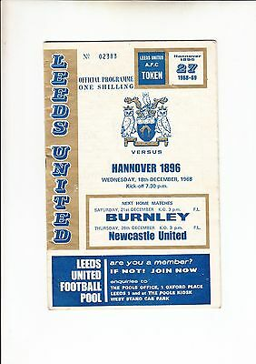 Leeds United V Hannover 1896 Fairs Cup 1968