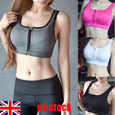 UK Womens Yoga Sports Running Bra Crop Top Vest Stretch Bras Shapewear Padded