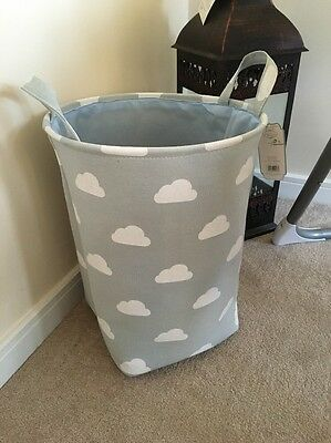 Girls Boys Grey Clouds Nursery Baby Laundry Clothes Toy Hamper Storage Box Tidy
