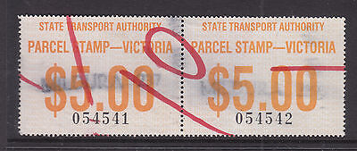 Railway Stamps: Victoria  $5.00 Parcel Stamps In Pair. Used