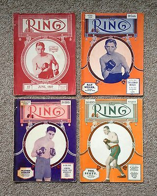 4 Issues - 'The Ring' Boxing Magazine 1927 & 1929 Lacking Some Pages