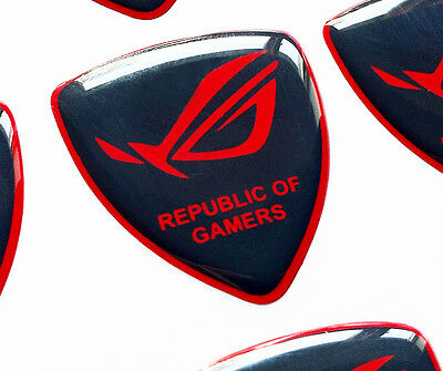 ASUS ROG Republic Of Gamers DARK GREY/RED 3D domed sticker badge 30X25MM [H187]
