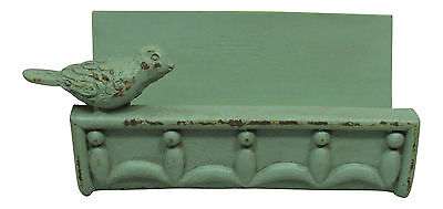 Desk Business Card Holder Stand Bird Design Country Cottage Shabby Finish Green