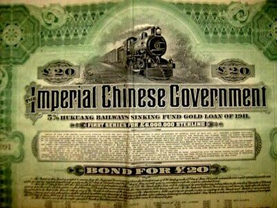 titre IMPERIAL CHINESE GOVERNMENTImperial chinese government bond pour £ 20 1913