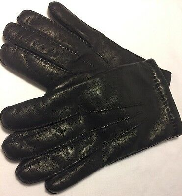 Vintage~MEN'S LEATHER Driving Gloves~Imported by Holland~Lined Sz. Large ~Black