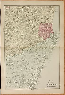 1891 Large Victorian Map -  The Environs Of Aberdeen, Stonehaven, Skene, Dyce, R