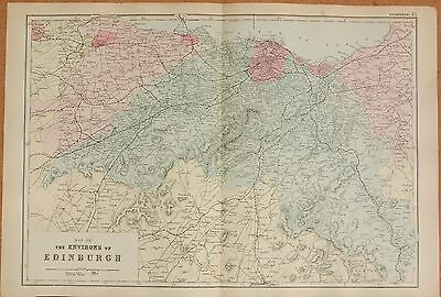 1891 Large Victorian Map -  The Environs Of Edinburgh, Linlithgow,stow, Railways