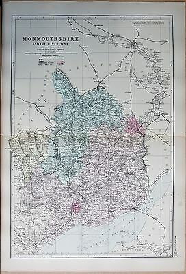 1891 Large Victorian County Map - Monmouthshire And The River Wye