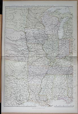 1882 Large Antique Map - The United States, Valley Of Mississippi
