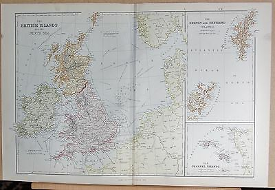 1882 Large Antique Map - The British Islands And The North Sea